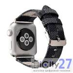 Ремешок для Apple Watch 38mm Dixico Leather Cage Pattern Band Gray/Black