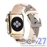 Ремешок для Apple Watch 38mm Dixico Leather Line Pattern Band Beige/Red