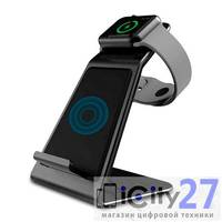 Беспроводное зарядное устройство Asrcomy W5 Dual Wireless Charging Stand Apple Watch & iPhone Gray