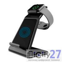 Беспроводное зарядное устройство Asrcomy W5 Dual Wireless Charging Stand Apple Watch & iPhone Gray