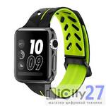 Ремешок для Apple Watch 38mm Dixico Silicone Line Pattern Band Black/Green