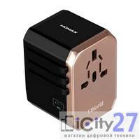 Адаптер питания Momax 1-World AC Travel Adapter Type-C + 4 USB Gold