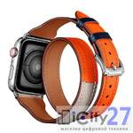 Ремешок для Apple Watch 38/40mm L&Y Leather Band Double Tour Indigo/Craie/Orange
