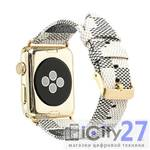 Ремешок для Apple Watch 38mm Dixico Leather Cage Pattern Band Beige/Gray