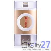 Флеш-накопитель iDiskk 001 Lightning/USB 3.0 для iOS/Mac/PC 128Gb Gold