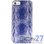 Чехол для iPhone 5/5S Just Cavalli Crystal Python with Silver Logo Blue
