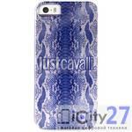 Чехол для iPhone 5/5S Just Cavalli Crystal Python with Silver Logo Blue