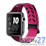 Ремешок для Apple Watch 42mm Dixico Silicone Line Pattern Band Burgundy/Red