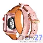 Ремешок для Apple Watch 38/40mm L&Y Leather Band Double Tour Pink